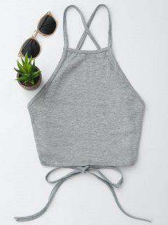 Open Back Cropped Tank Top - Gray M
