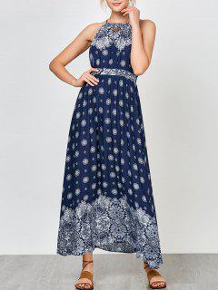 Criss Cruz Imperio Imperio Cintura Floral Maxi Vestido - Azul Marino  2xl