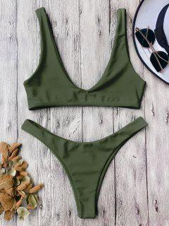 High Cut Scoop Bikini Set - Army Green M