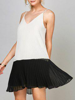 Open Back Chiffon Pleated Slip Dress - White And Black 2xl