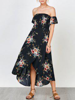 Floral Print Smocked Off The Shoulder Dress - Cadetblue L