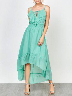 Spaghetti Strap Lace Up High Low Prom Dress - Mint 2xl