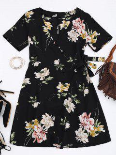 Mini Floral Wrap Dress - Floral L