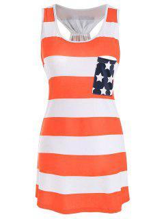 Robe Débardeur Style Dos Nageur Imprimé Drapeau Américain - Orange 2xl