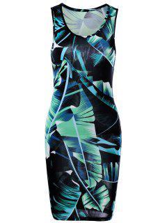Tropical Leaf Printed Mini  Sheath Tank Dress - Green M