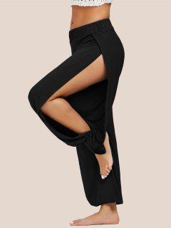 High Slit Elastic Waist Harem Pants - Black S