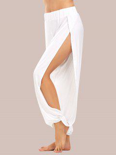 High Slit Elastic Waist Harem Pants - White S