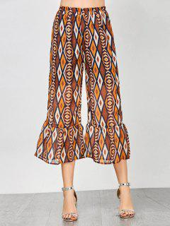 Geometric Print Flounce High Waisted Pants - M