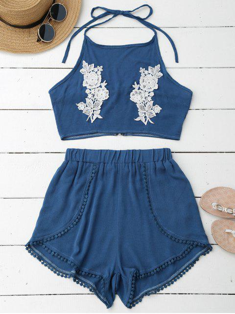 ladies Lace Floral Halter Crop Top and Shorts - BLUE L Mobile