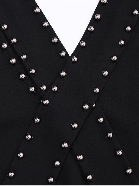Bow Tie Rivet Chiffon Tank Top - Noir M Mobile