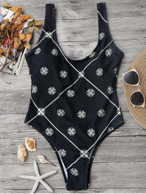 sale Low Back High Cut One Piece Swimsuit - BLACK S Mobile