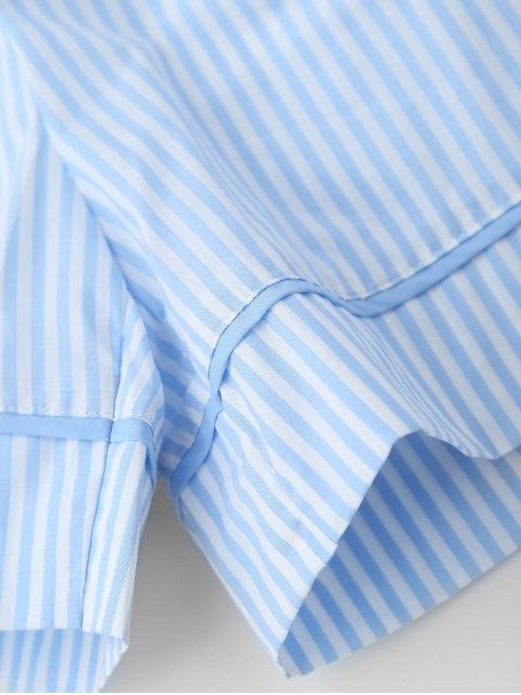 ladies Elastic Waist Pockets Striped Shorts - STRIPE M Mobile