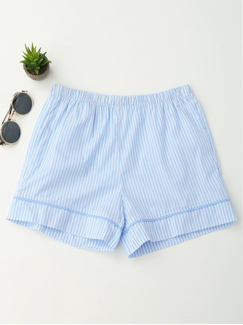 lady Elastic Waist Pockets Striped Shorts - STRIPE S Mobile