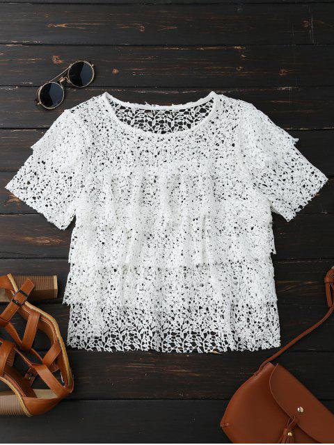 Top en Dentelle en Crochet Multicouches Ciselé - Blanc S Mobile