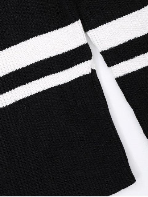 affordable Knitting Ribbed Off Shoulder Top - STRIPE L Mobile