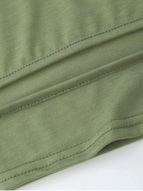 best Cropped Cut Out Tank Top - ARMY GREEN M Mobile