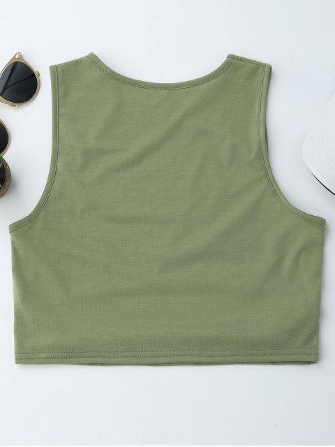 online Cropped Cut Out Tank Top - ARMY GREEN L Mobile