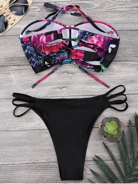 Ensemble de Bikini   à motif Floral à Bretelles à lacets avec culotte à taille haute - Noir S Mobile