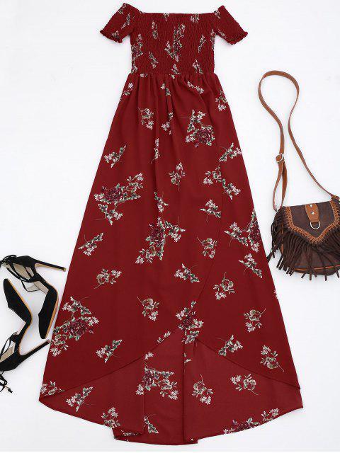 Maxi Vestido Asimétrico Corrugado Floral con Hombros al Aire - Rojo S Mobile