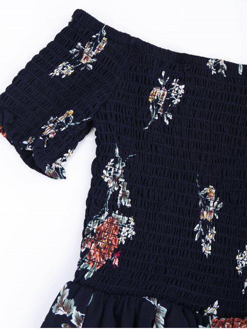 fashion Off Shoulder Floral Shirred Asymmetric Maxi Dress - CADETBLUE S Mobile