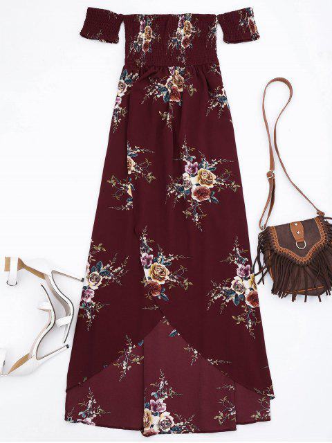 buy Slit Floral Shirred Waist Maxi Tube Dress - BURGUNDY M Mobile