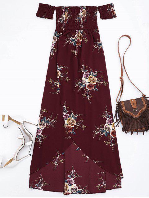 Slit Floral Shirred Cintura Maxi tubo vestido - Burdeos S Mobile