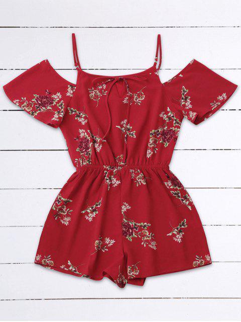 Kalte Schulter Blumen Cami Spielanzug - Rot L Mobile
