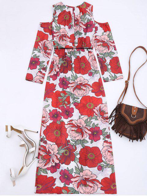shops Floral Cold Shoulder Maxi Dress - FLORAL S Mobile