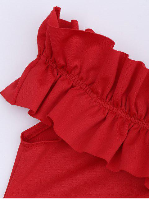 outfit Off Shoulder Ruffled Bodycon Dress - RED M Mobile