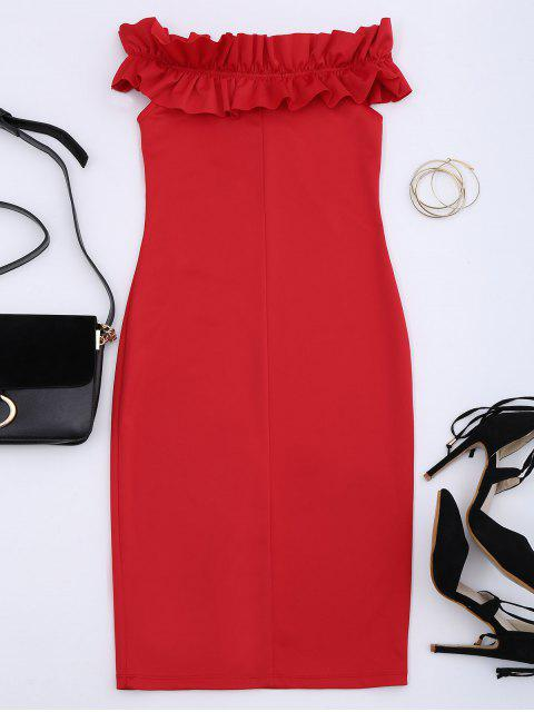 hot Off Shoulder Ruffled Bodycon Dress - RED L Mobile