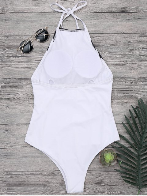 womens Ruched High Neck Halter One Piece Swimsuit - WHITE L Mobile
