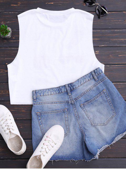 outfits Cotton Vintage Print Tank Top - WHITE L Mobile