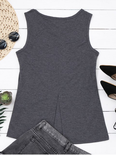fancy Cotton Printed Back Slit Tank Top - GRAY S Mobile