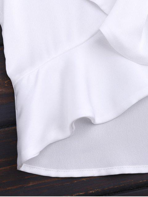 womens Front Tie Ruffles Cropped Tank Top - WHITE S Mobile