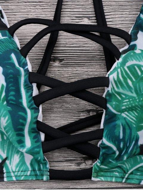 Ensemble de bikini à bretelle imprimé palmier chat avec ficelle - Vert L Mobile