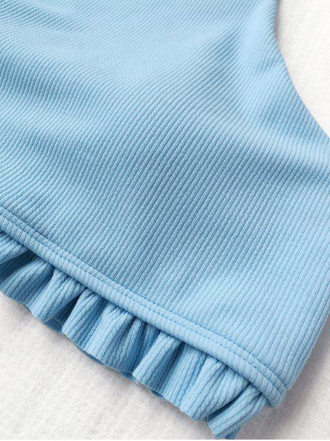 bikini à côtes à volants à col haut - Bleu Glacé S Mobile