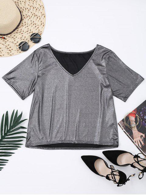 lady V Neck Shiny Top - SILVER S Mobile