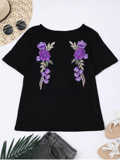 new Cotton Floral Patched T-Shirt - BLACK L Mobile