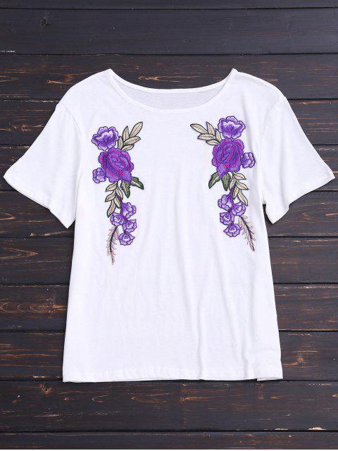 T-shirt à motifs floraux en coton - Blanc M Mobile