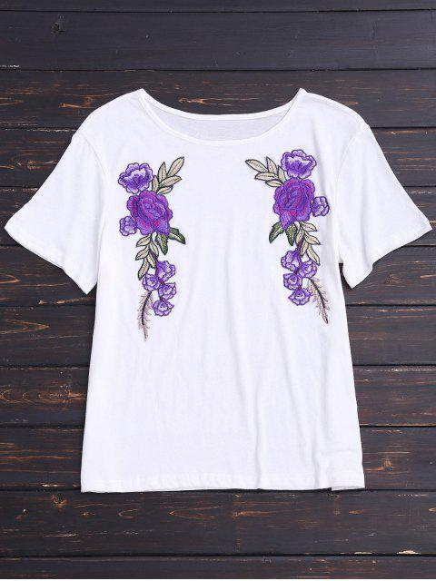 trendy Cotton Floral Patched T-Shirt - WHITE S Mobile