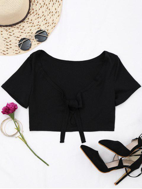 sale Ribbed Bowknot Cut Out Cropped Top - BLACK S Mobile