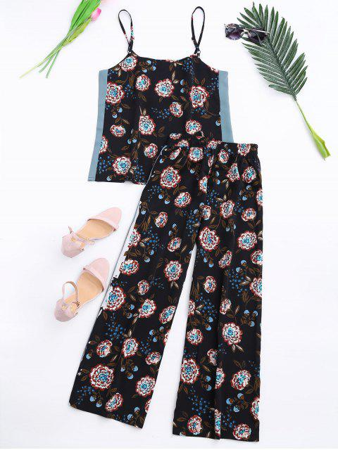 new Floral Tank Top and Pants With Stripe - BLACK S Mobile