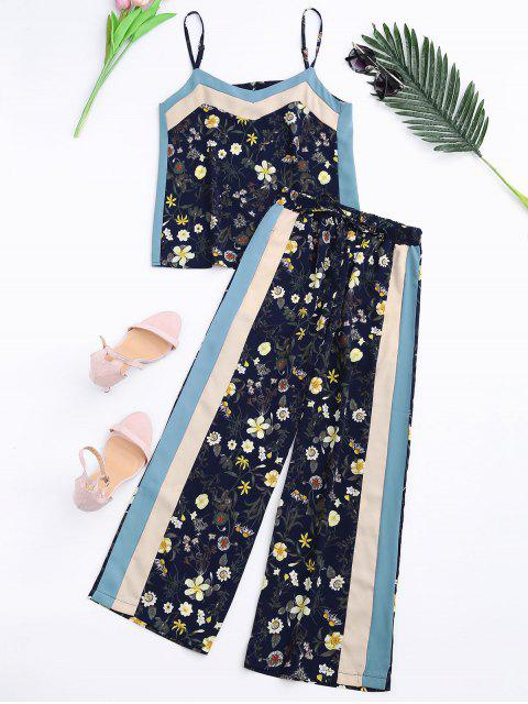 shops Floral Tank Top and Pants With Stripe - CADETBLUE L Mobile