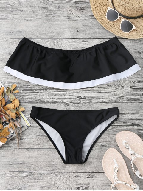 womens Overlay Color Block Off Shoulder Bikini - BLACK S Mobile