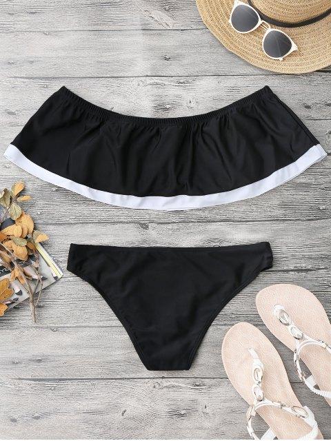 Bloc de couleur de superposition hors bikini d'épaule - Noir S Mobile