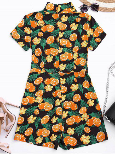 lady Orange Print Buttoned Romper With Pockets - COLORMIX XL Mobile