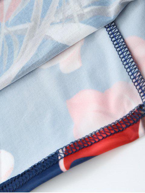 online Off Shoulder Ruffle Floral Sheath Dress - FLORAL M Mobile