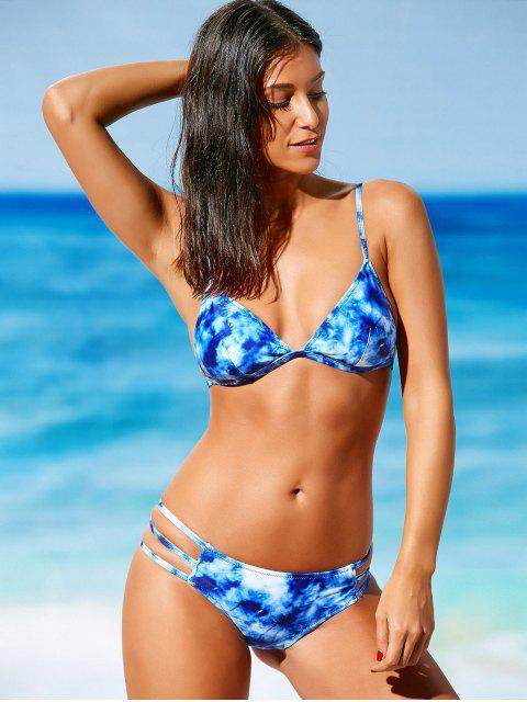buy Spaghetti Strap Tie-Dye Bikini - BLUE S Mobile