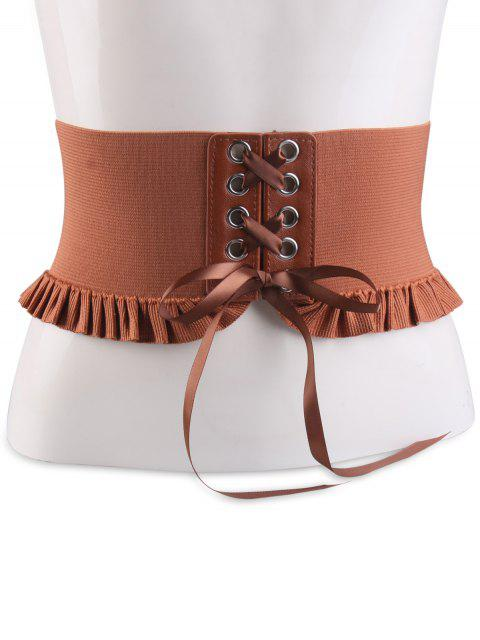 women Lace Up Elastic Pleated Metallic Circles Corset Belt - CHOCOLATE  Mobile
