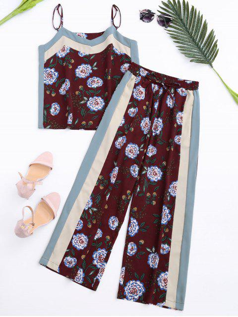 outfit Floral Tank Top and Pants With Stripe - WINE RED M Mobile